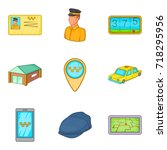 taxicab icons set. cartoon set... | Shutterstock .eps vector #718295956
