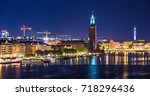stockholm city hall illuminated ... | Shutterstock . vector #718296436