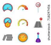 speedometer icons set. cartoon... | Shutterstock .eps vector #718297456