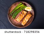 fillet of grilled salmon with... | Shutterstock . vector #718298356