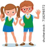 two students of elementary... | Shutterstock .eps vector #718298572