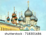 assumption cathedral in rostov... | Shutterstock . vector #718301686