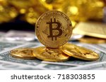 physical version of bitcoin ...   Shutterstock . vector #718303855