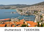 view to the port and downtown... | Shutterstock . vector #718304386