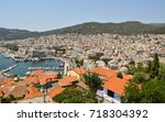 view to the port and downtown... | Shutterstock . vector #718304392
