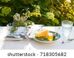honey and honeycomb on the... | Shutterstock . vector #718305682