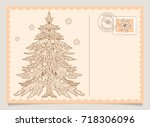 christmas tree in doodle style. ... | Shutterstock .eps vector #718306096