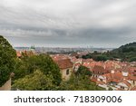 aerial view over old town in... | Shutterstock . vector #718309006