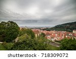 aerial view over old town in... | Shutterstock . vector #718309072