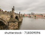 charles bridge with view for... | Shutterstock . vector #718309096