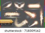isolated golden flare.... | Shutterstock .eps vector #718309162