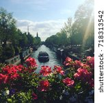 amsterdam canals in springtime | Shutterstock . vector #718313542