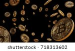 Bitcoins Falling, blockchain technology for cryptocurrency, isolated on black background with center space, 3D Rendering - stock photo