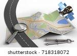 3d illustration of city map... | Shutterstock . vector #718318072