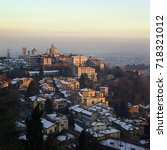 old city of bergamo in italy... | Shutterstock . vector #718321012