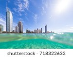 view from the water of surfers... | Shutterstock . vector #718322632
