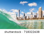 view from the water of surfers... | Shutterstock . vector #718322638