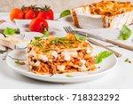 italian food recipe. dinner... | Shutterstock . vector #718323292