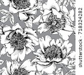 seamless floral pattern. black... | Shutterstock .eps vector #718324282