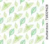 mint leaf vector seamless... | Shutterstock .eps vector #718329628