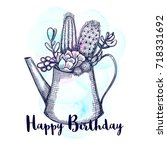 happy birthday greeting card... | Shutterstock .eps vector #718331692