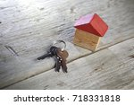 closeup of house model and keys ... | Shutterstock . vector #718331818