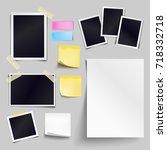 vector set of blank paper... | Shutterstock .eps vector #718332718