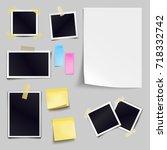 vector set of blank paper... | Shutterstock .eps vector #718332742