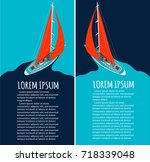 yacht club flyer design with... | Shutterstock .eps vector #718339048