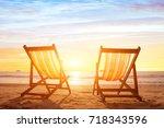 beach tourism  holiday... | Shutterstock . vector #718343596