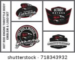 set of classic car logo ... | Shutterstock .eps vector #718343932