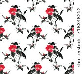 seamless floral pattern... | Shutterstock . vector #718348252