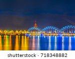 night view of the zeppelin... | Shutterstock . vector #718348882
