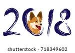 happy new year 2018. creative... | Shutterstock .eps vector #718349602