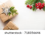christmas background with xmas... | Shutterstock . vector #718356646