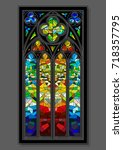 vector stained glass window... | Shutterstock .eps vector #718357795