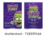 zombie party a4 invitation... | Shutterstock .eps vector #718359166