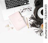 workspace with laptop  planner  ... | Shutterstock . vector #718364455