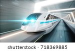 futuristic modern train ... | Shutterstock . vector #718369885