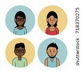 young friends cartoons set | Shutterstock .eps vector #718370275