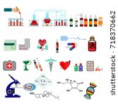 pharmaceutical production icons ... | Shutterstock .eps vector #718370662