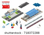vector isometric set railroad... | Shutterstock .eps vector #718372288