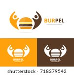 vector burger and people logo... | Shutterstock .eps vector #718379542