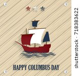 columbus day. wooden background ... | Shutterstock .eps vector #718383622