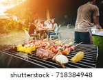 bbq food party summer grilling... | Shutterstock . vector #718384948