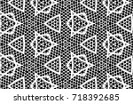 ornament with elements of black ... | Shutterstock . vector #718392685