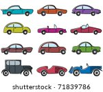 vintage cars doodle color icons ... | Shutterstock .eps vector #71839786