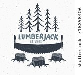 lumberjack at work with saw... | Shutterstock .eps vector #718398406