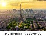 skyline of paris with eiffel...   Shutterstock . vector #718398496