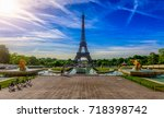 view of eiffel tower from... | Shutterstock . vector #718398742